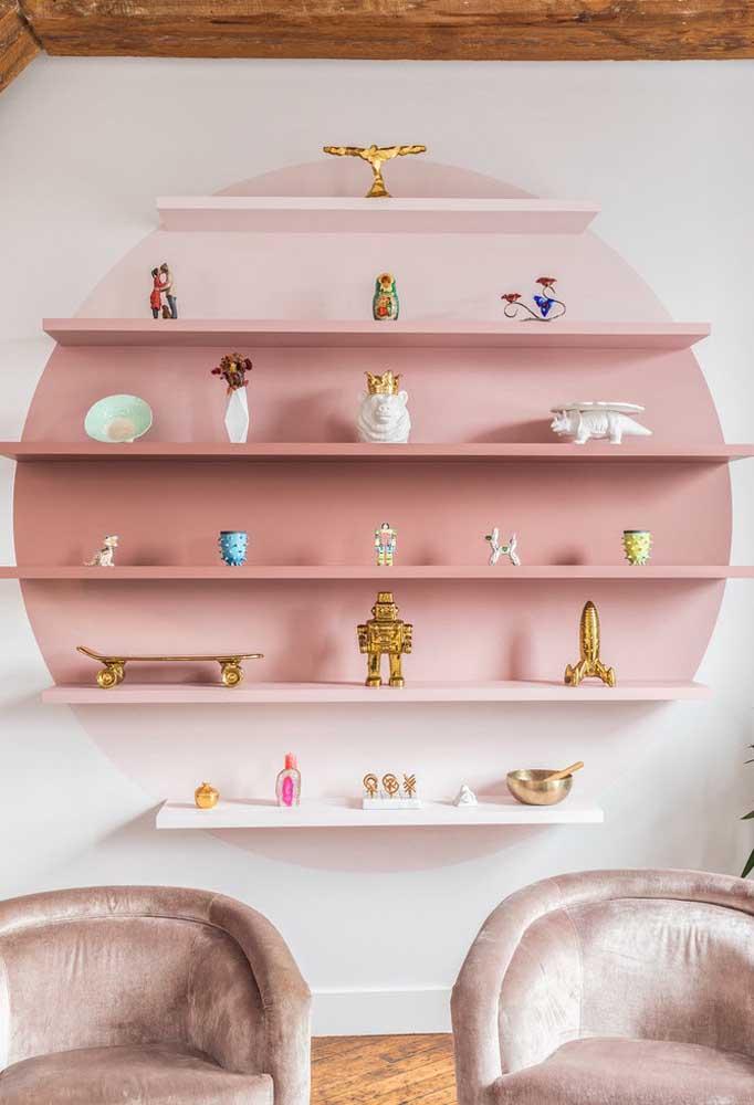 O tom rosa pode ser usado apenas para destacar alguns elementos decorativos do ambiente.