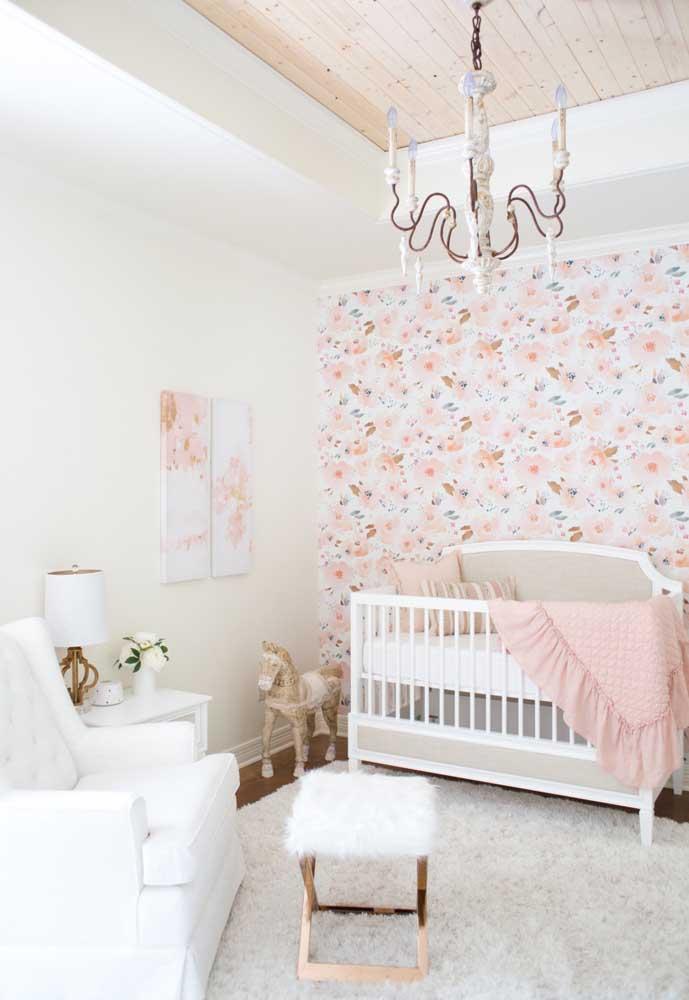 Olha que estampa de papel de parede linda para decorar o quarto de bebê.