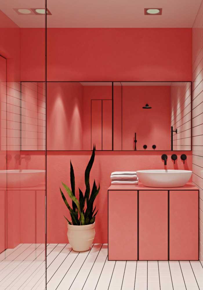 Perceba o capricho na decoração deste banheiro.