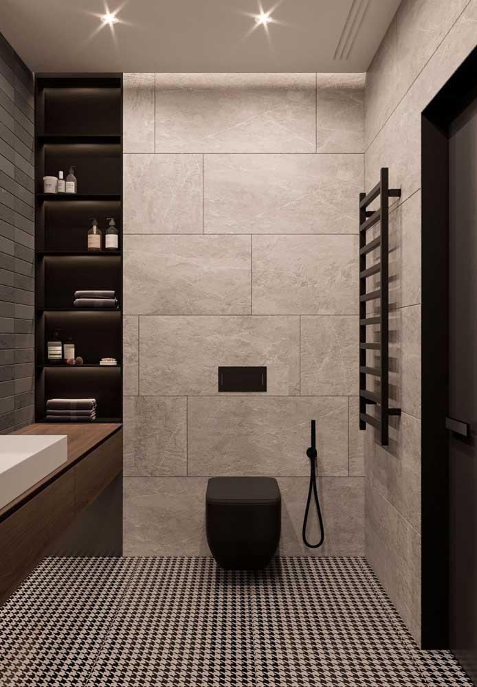 Azulejos de banheiro em tons de cinza e marrom para realçar o estilo moderno e elegante do espaço