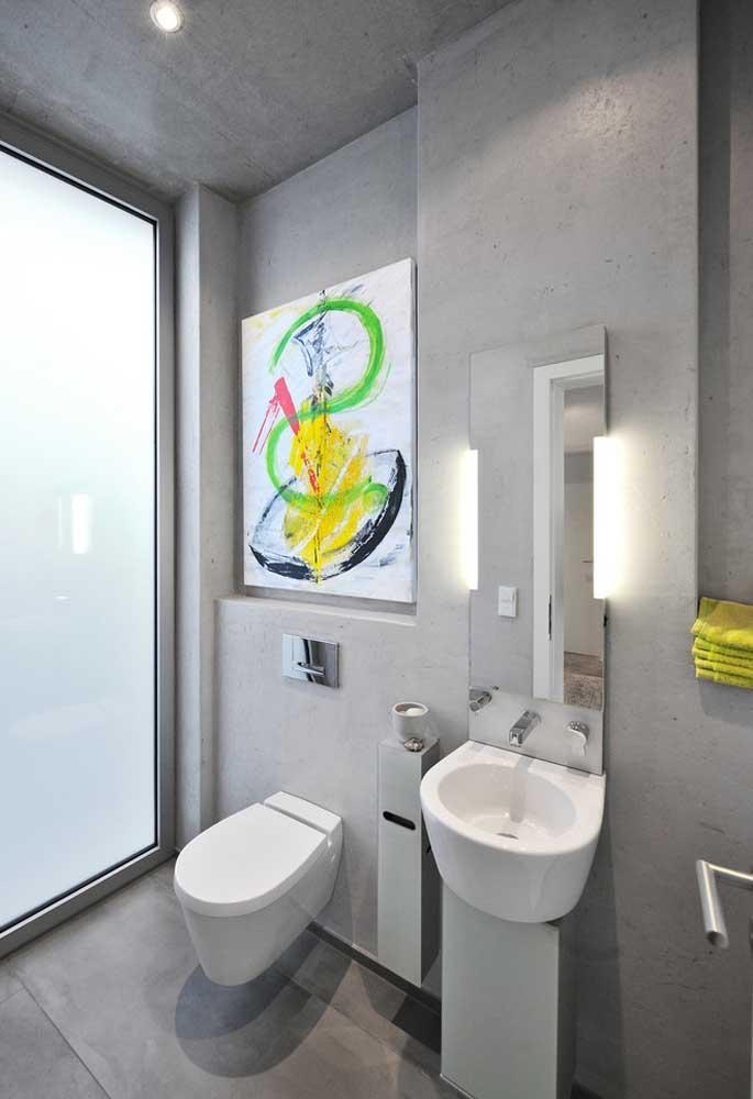 Se você deseja um banheiro colorido e moderno, apenas use um objeto decorativo para destacar o ambiente.
