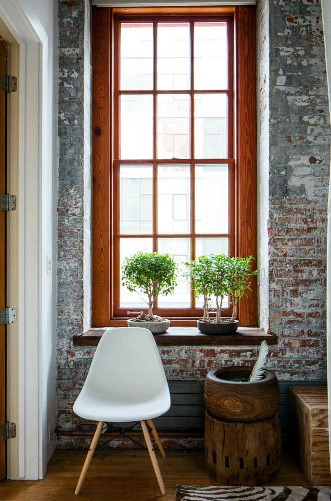 A rusticidade do ambiente casou perfeitamente com a dupla de bonsais na janela