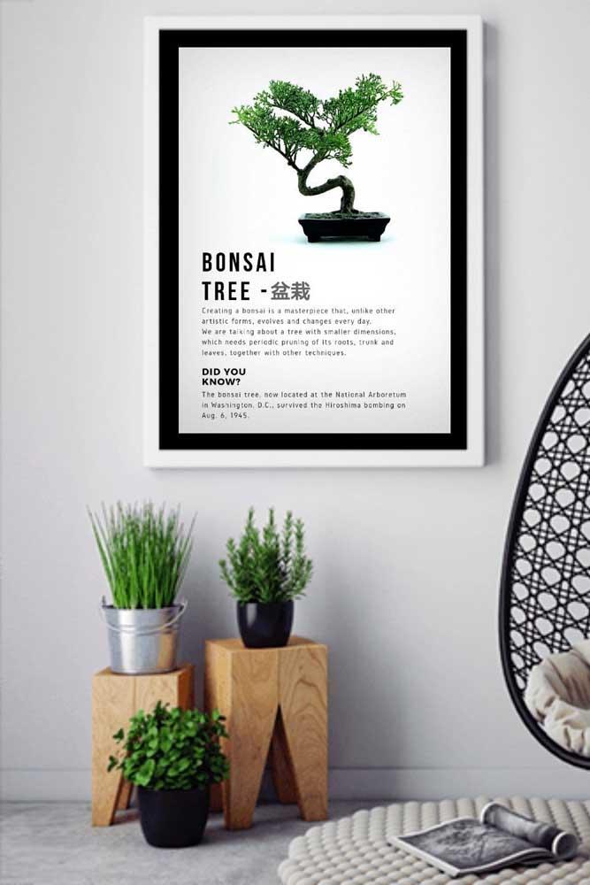 Por algum motivo você não pode ter um bonsai? Não desanime, pendure uma imagem de bonsai na parede
