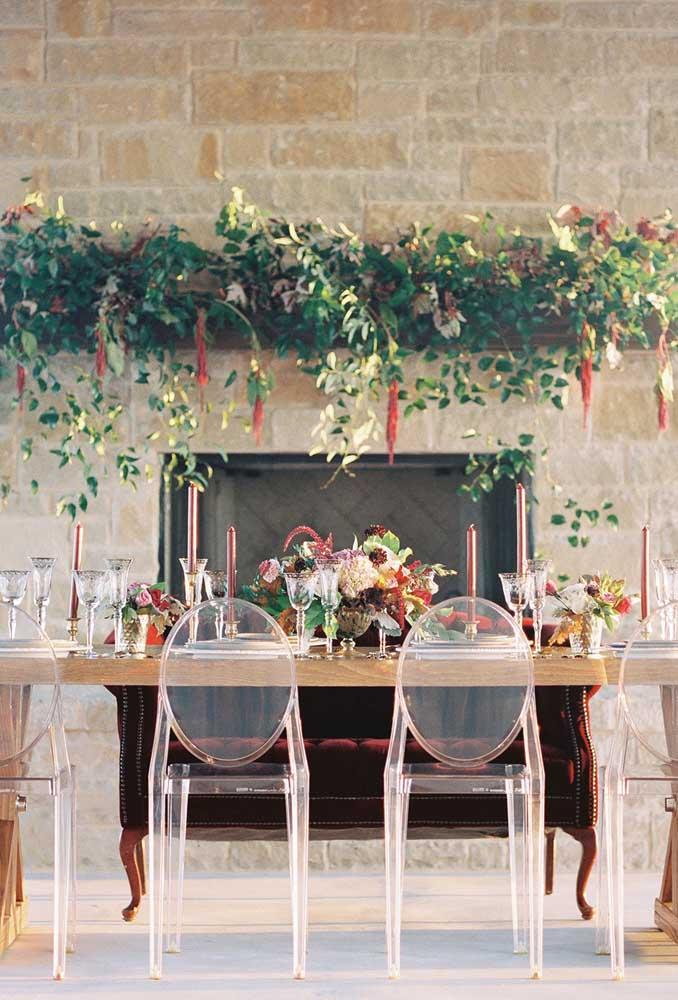 Cadeira de acrílico para festas; outra tendência de decoração