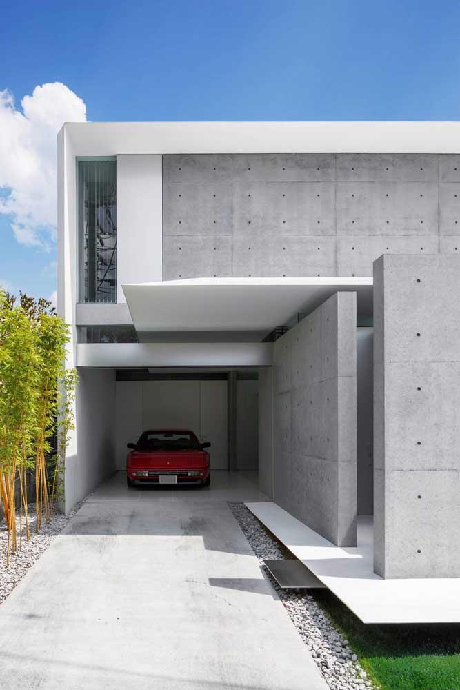 Casa moderna em L com garagem interna