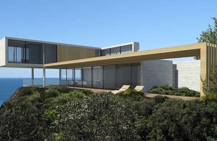 O terreno espaçoso com vista para o mar favoreceu a construção da casa em L