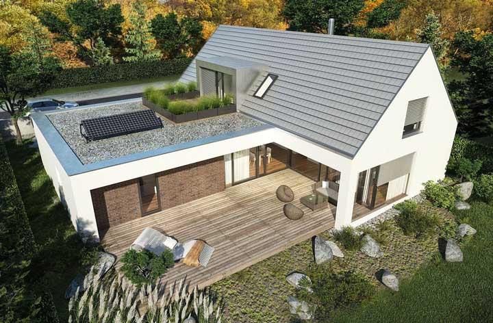 Casa em L com varanda simples e terraço