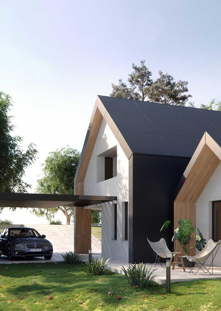 Casa planejada com espaço para garagem e varanda aberta