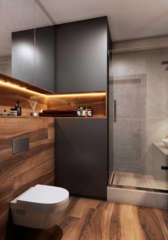 Lavabo planejado com nichos embutidos e luzes de LED