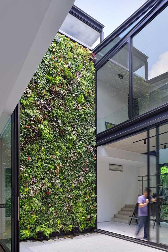 A casa planejada contou com paredes de vidro para valorizar a vista