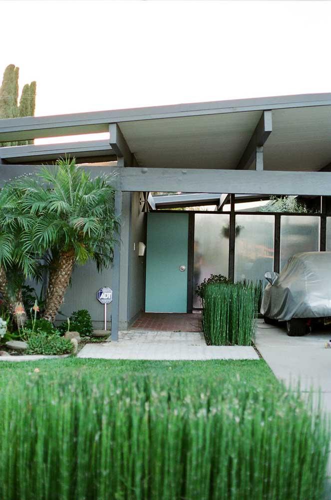 Opção de cerca viva para a fachada da casa moderna, delimitando a passagem entre a garagem e a entrada principal