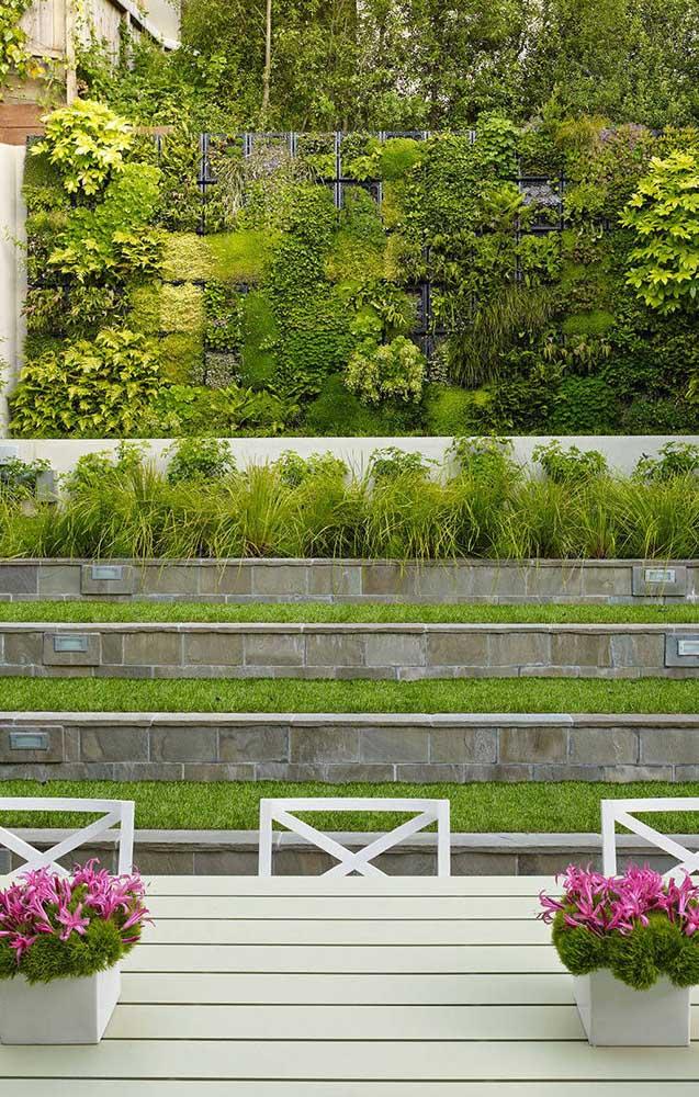A cerca viva diversificada formou uma verdadeira parede verde na residência