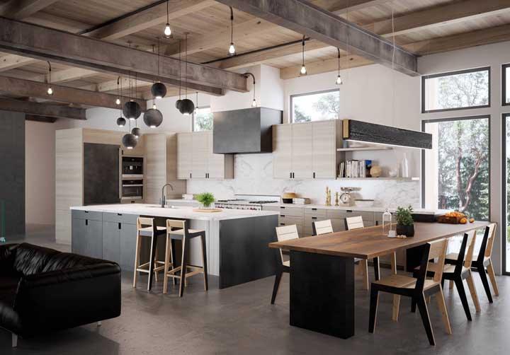 Cozinha gourmet com mix de rústico e moderno