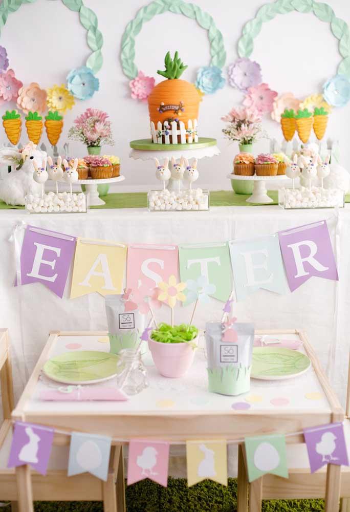 Uma boa opção de tema para decoração de Páscoa é se inspirar no coelho com suas cenouras. Portanto, faça uma decoração de festa coelhinho da Páscoa.