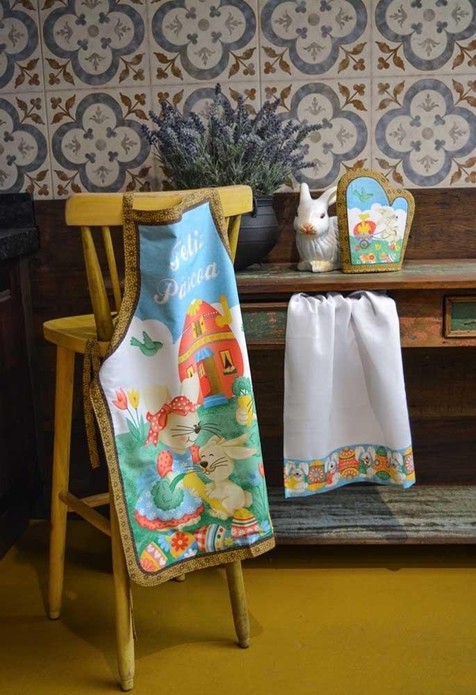 Que tal fazer um kit cozinha com bordados que fazem referências aos símbolos da páscoa?