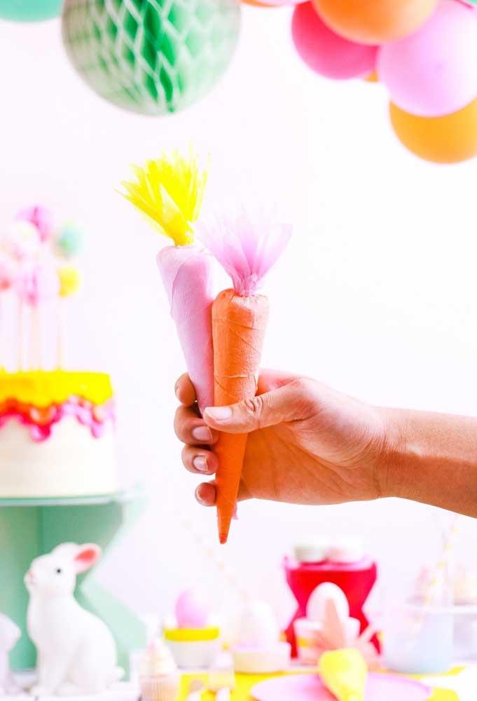 Prepare alguns enfeites no formato de cenoura e decore sua casa para a páscoa.