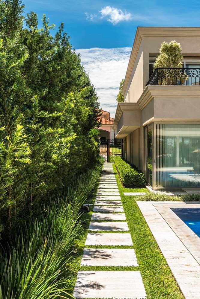 Fachada de muro verde com plantas ao longo de todo o contorno da casa