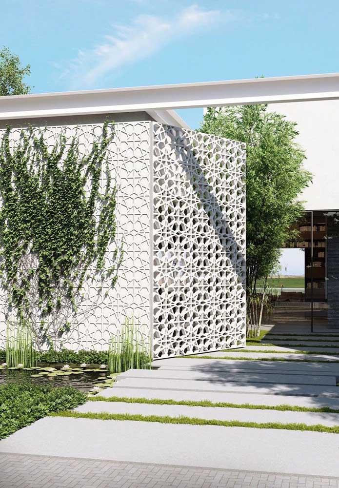 Fachada de casa com blocos vazados, em estilo cobogó; uma linda inspiração para quem busca algo mais clean