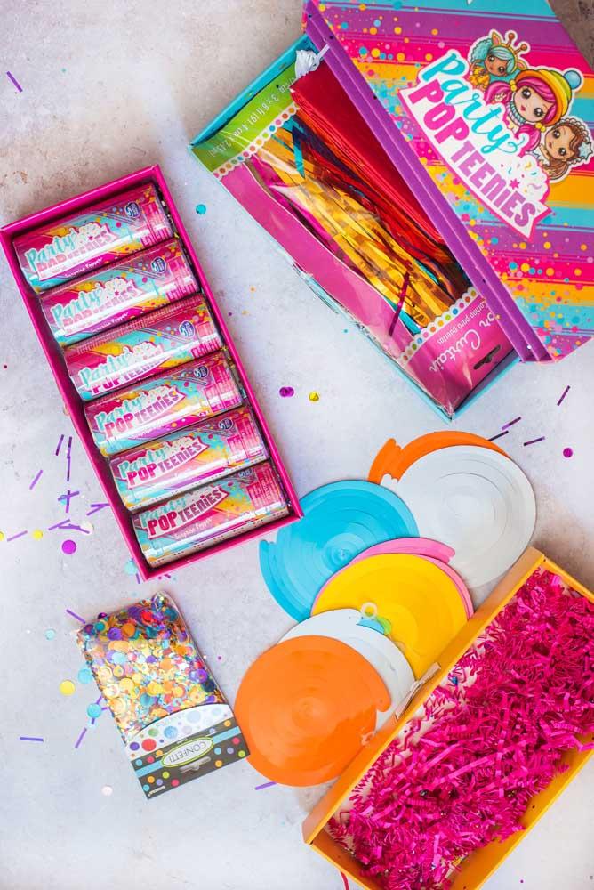 Explore cores na decoração da festa na caixa