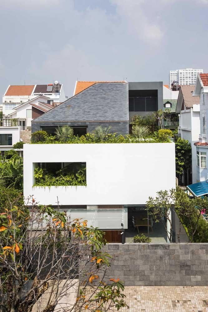A frente dessa casa foi valorizada pelo uso das plantas; repare no contraste criado pelos tons de verde em meio as tonalidades neutras