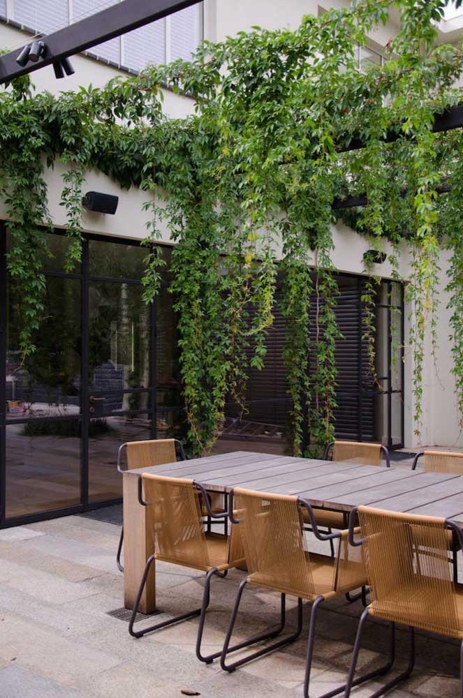 Nessa varanda externa a solução para criar um jardim foi em cima do pergolado de madeira