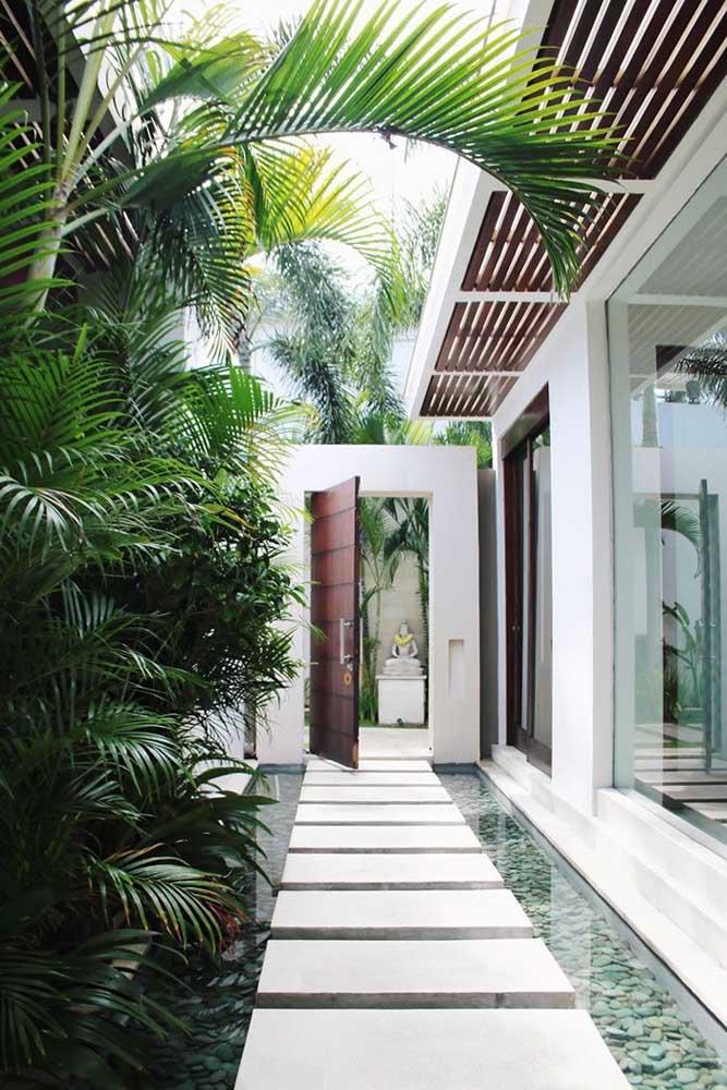 O corredor de entrada dessa casa foi emoldurado por palmeiras