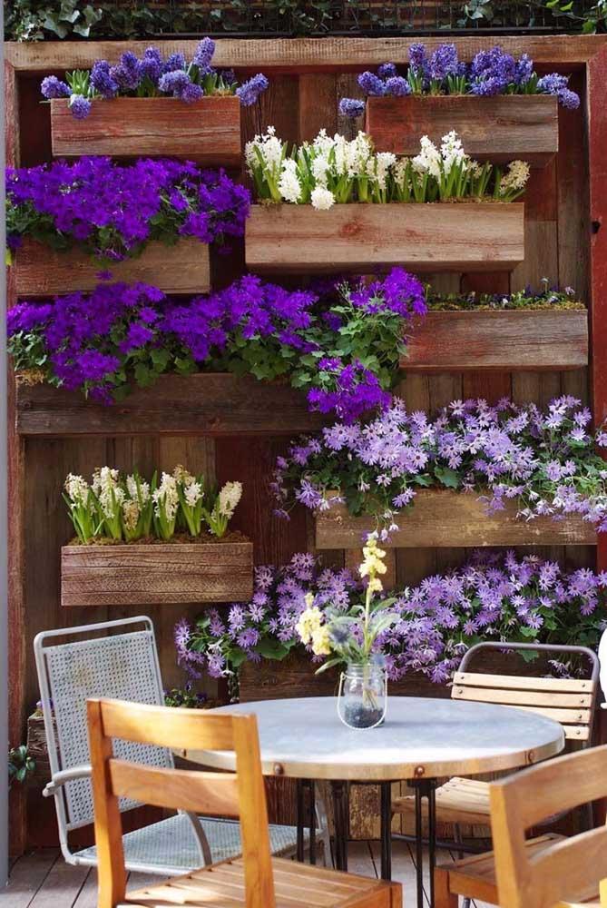 As flores enchem de beleza esse simples jardim vertical