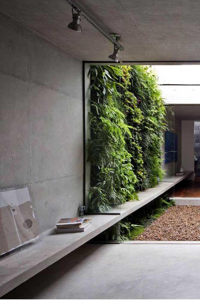 Jardim vertical com chão de pedras: lindo e de fácil manutenção