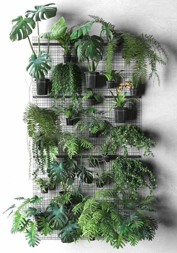 Nessa proposta foi usada uma treliça como suporte para o jardim vertical