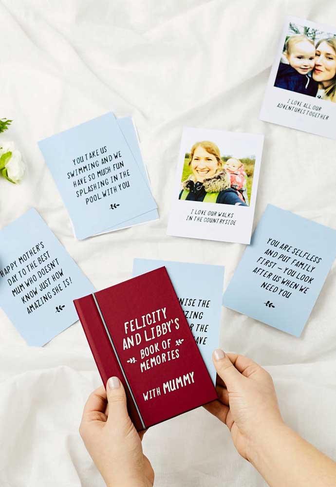 Prepare um livro de memórias para entregar para a sua mãe.