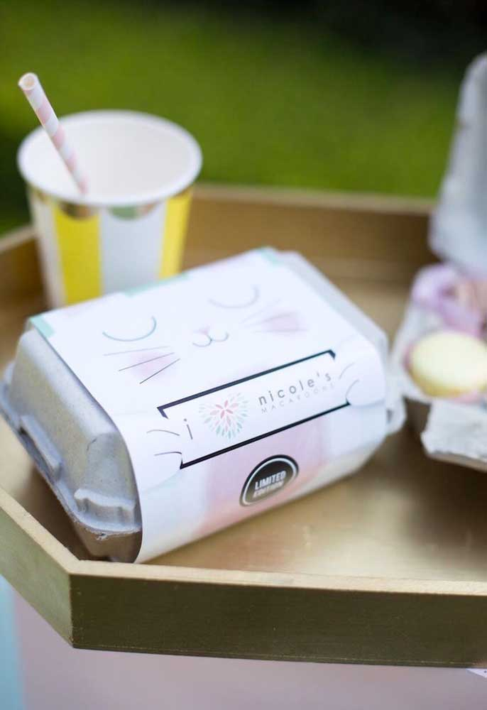 Sabe aquelas caixinhas de ovos que você não usa mais? Você pode reutilizá-las para colocar docinhos de sua preferência e embalar como lembrancinha.