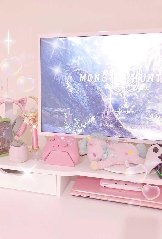 Um pouco de cor de rosa no quarto gamer, afinal, jogos também são para meninas!