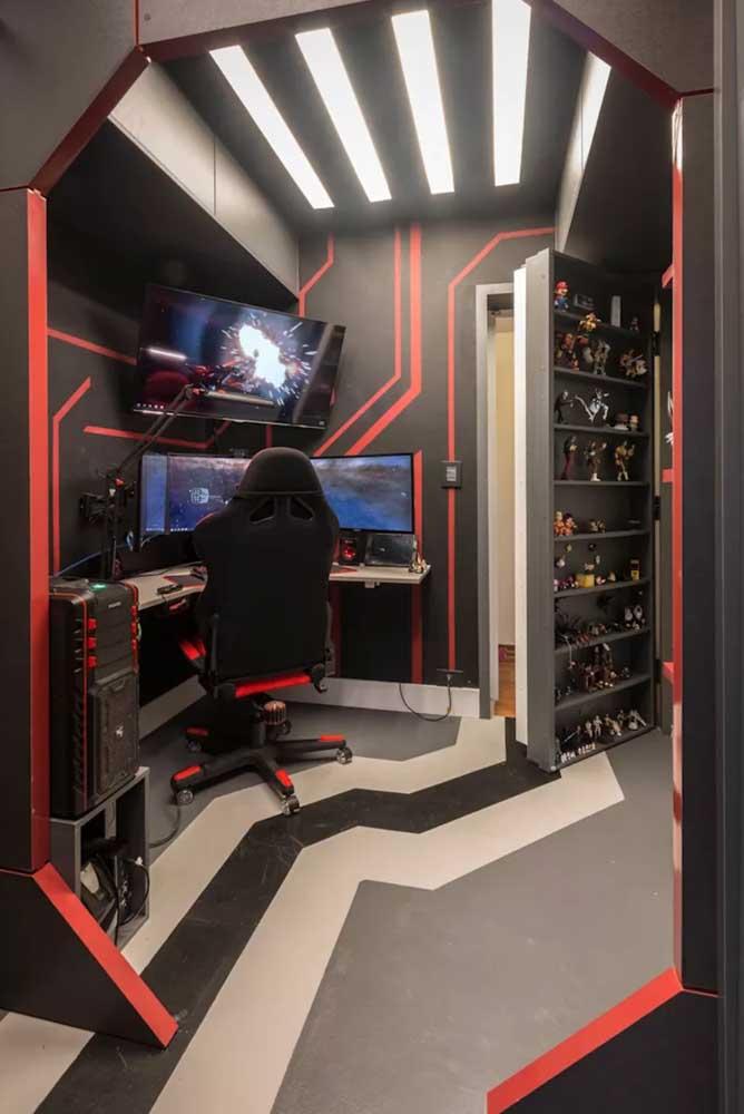 Parece um esconderijo secreto, mas é só um quarto gamer
