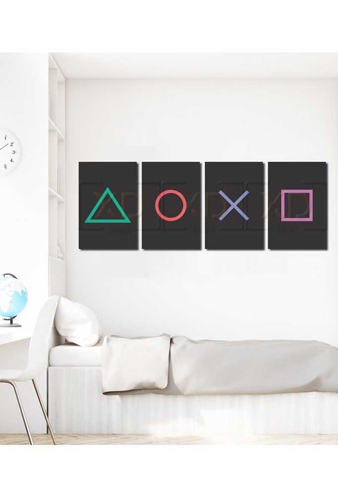 Mas se preferir um visual mais clean, aposte em um quarto gamer todo pintado de branco com apenas alguns detalhes em cor