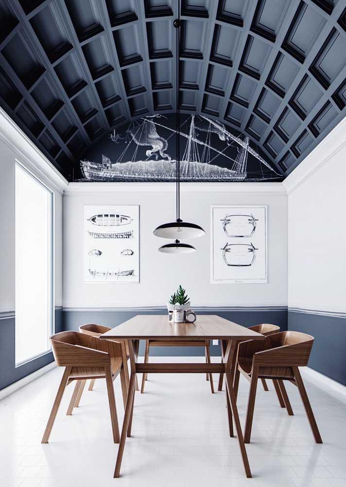 Que inspiração incrível este teto de gesso com design 3D para a sala de jantar com pé direito duplo