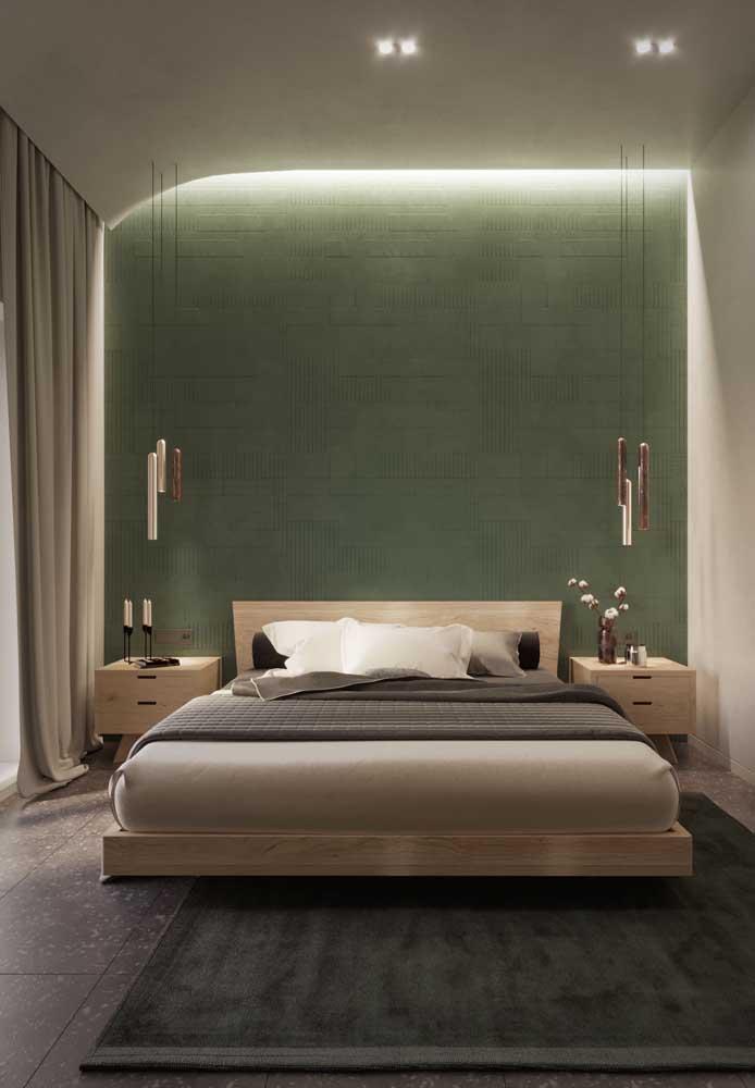 Teto de gesso para o quarto elegante; destaque para o efeito curvo na lateral da parede realçada pela luz de LED