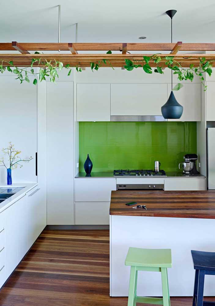 Deixe a natureza fazer parte de ambientes modernos como esse modelo de cozinha.