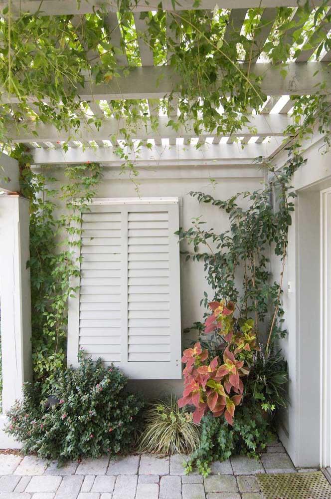 Para deixar o ambiente mais claro e iluminado, o ideal é usar pergolado nas cores neutras.