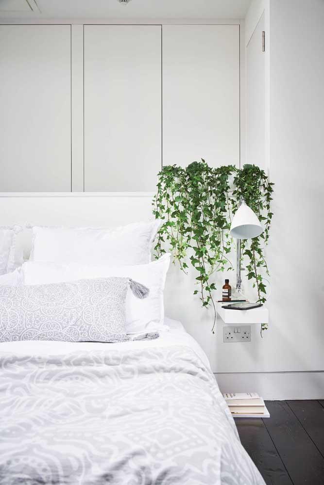 Pegue um objeto e coloque como estrutura para cultivar uma trepadeira no quarto. Dê preferência para aquela que cresce para baixo.