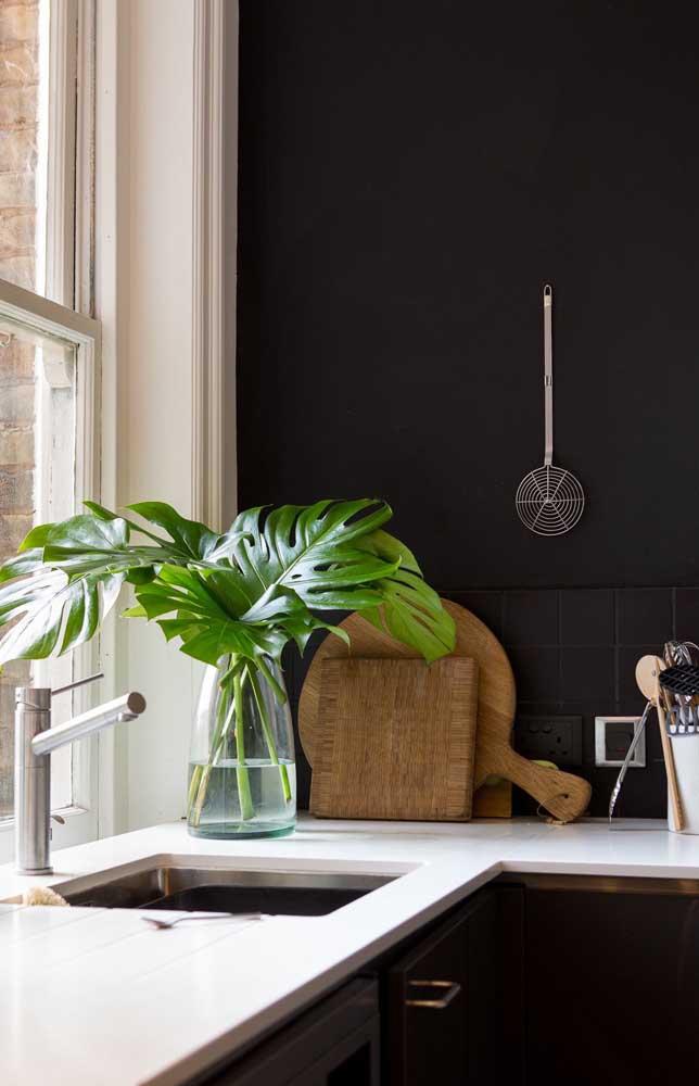 A parede preta da cozinha forma o fundo perfeito para que as folhas verdes da Costela de Adão se sobressaíam