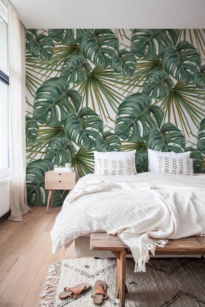 Painel super realista para o quarto com folhas de Costela de Adão estampadas