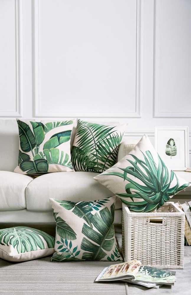 Capas de almofada com estampa de Costela de Adão para uma decor cheia de tropicalismo