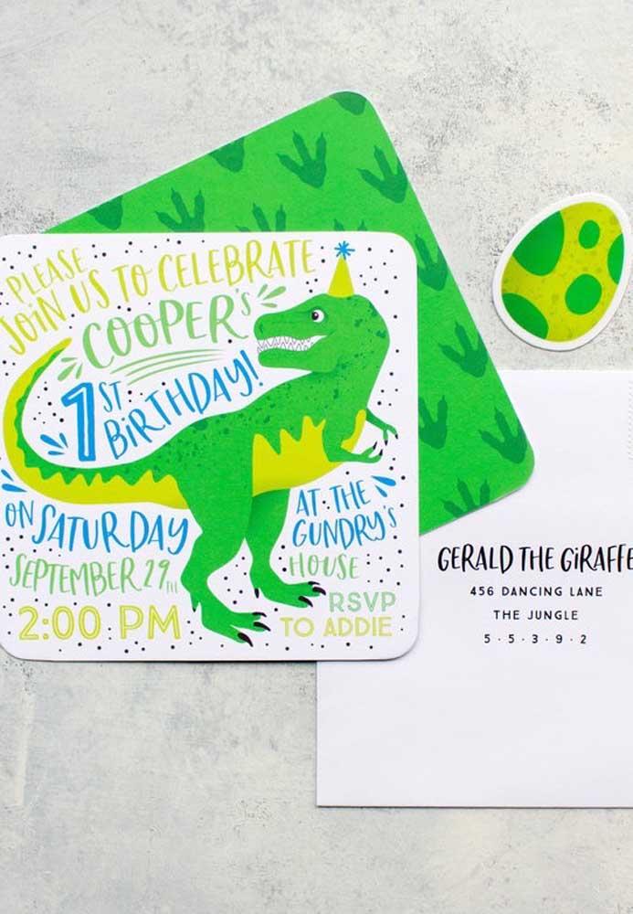 Olha que cartão diferente foi usado para fazer o convite da festa tema dinossauro. Se inspire com o modelo para fazer o seu.