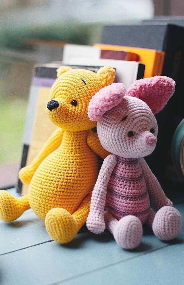 Na hora de fazer o urso amigurumi se inspire no ursinho Pooh e seus amiguinhos.