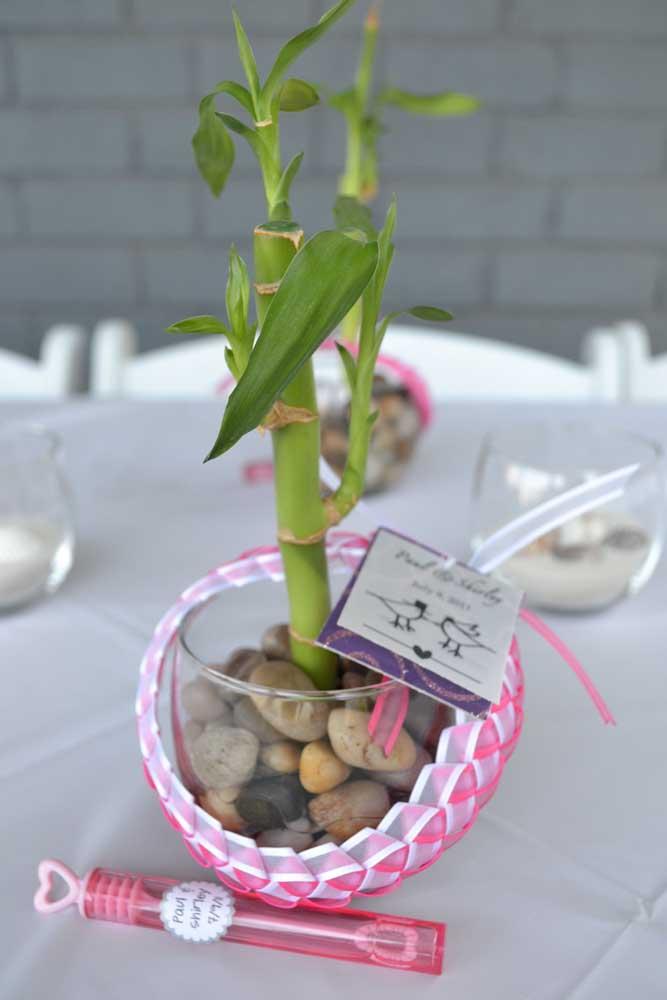 Aqui, o Bambu da Sorte se tornou uma linda opção de lembrancinha