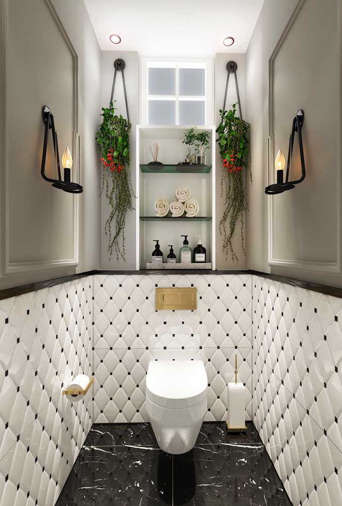 Banheiro preto e branco pode ser um luxo só.