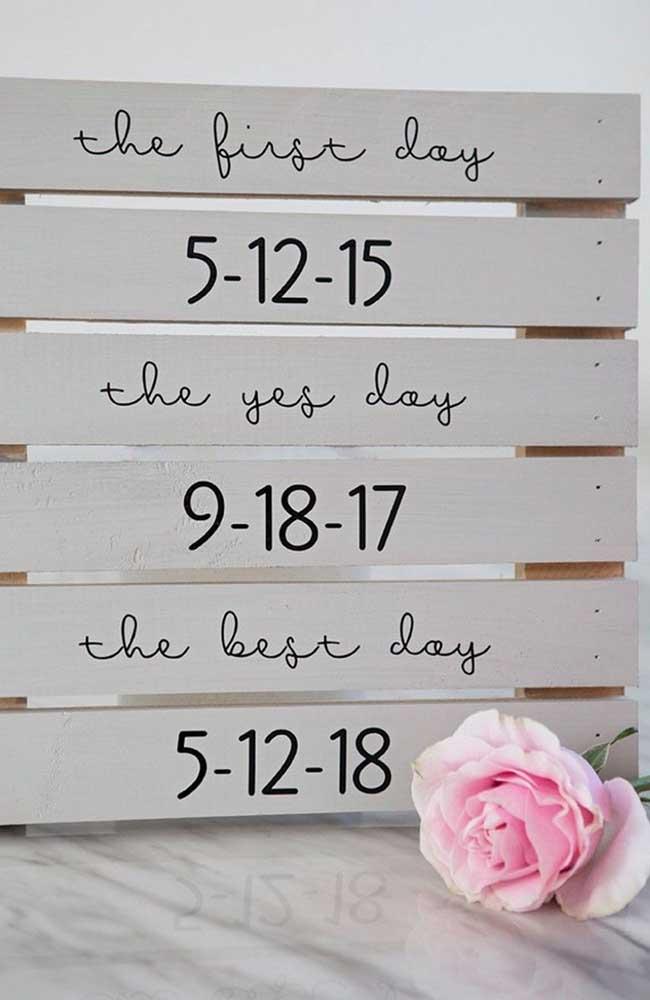 Plaquinhas de madeira contam as datas dos momentos memoráveis do casal; além de linda é muito simples de fazer