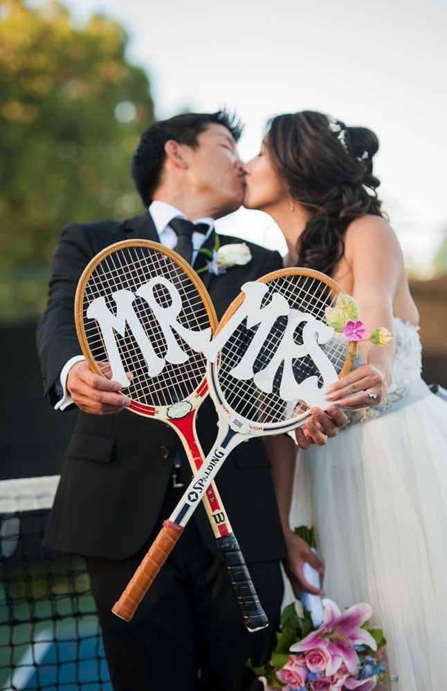 Opção personalizada e diferente para as fotos dos noivos