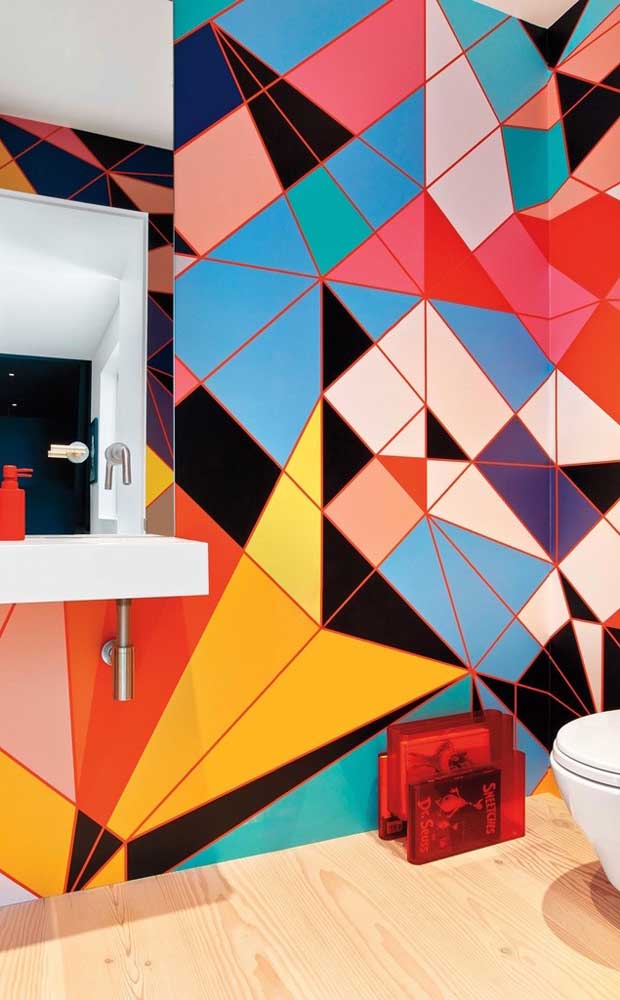 Um lavabo cheio de cores e formas para alegrar o dia de qualquer um