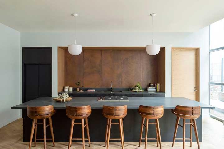 Uma cozinha gourmet, moderna, simples e cheia de estilo